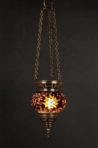 BROWN/YELLOW MOSAIC CEILING LAMP, 003