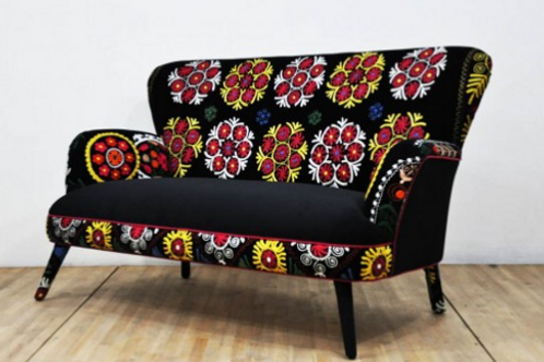 HANDMADE SUZANI COUCH, 2 SEATING, 003