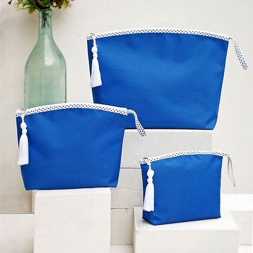 HANDMADE BEACH BAG SET OF THREE, BLUE