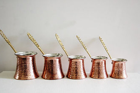 SPECIAL COPPER TURKISH COFFEE POT SET OF FIVE, EFMR- 052