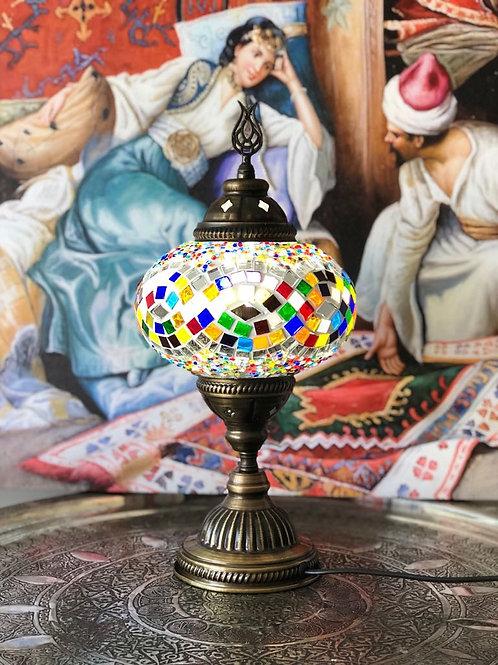 MOSAIC TABLE LAMP, LARGE GLOBE 016, MULTI-COLOR