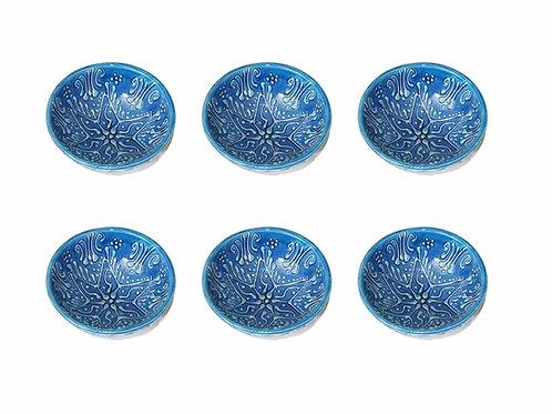 "TURKISH CERAMIC BOWL SET OF SIX, 12 cm (4.7""), FIRUZE BLUE"