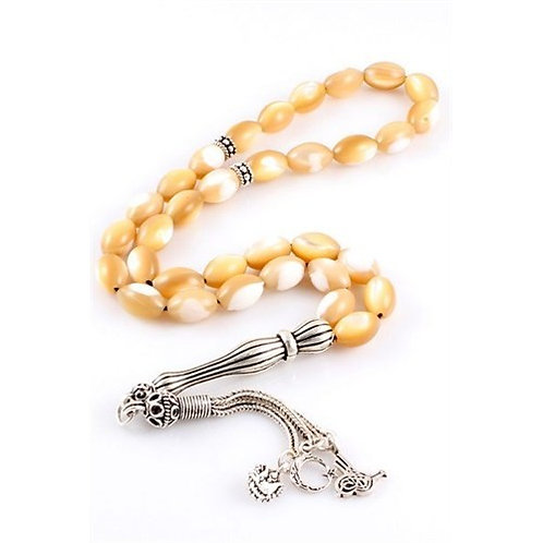 MOTHER OF PEARL PRAYER BEADS, LIGHT BROWN