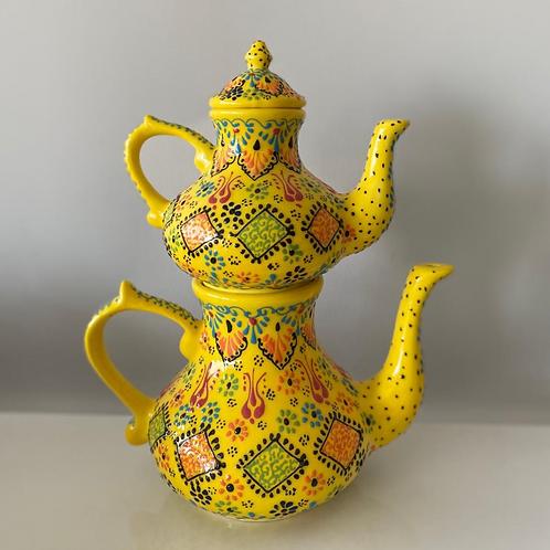 TURKISH CERAMIC TEA POT, DOUBLE CAYDANLIK, YELLOW