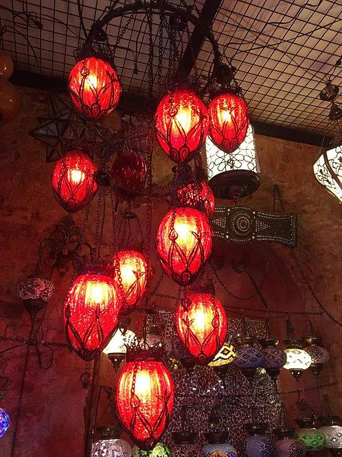RED OTTOMAN CHANDELIER, 10 BLOWN GLASS GLOBES