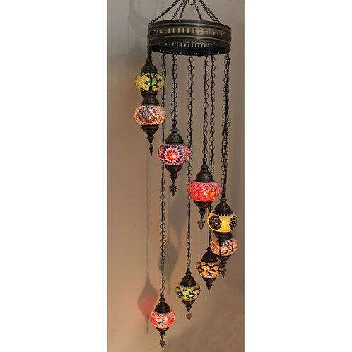"MIX COLORS 9 LAMPS MOSAIC CHANDELIER, NO 2 (GLOBE SIZE: 12 cm / 4.7""), SPIRAL"