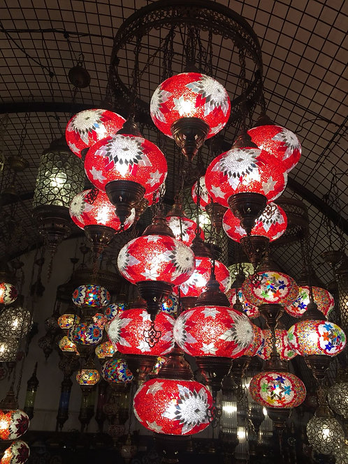 RED TURKISH MOSAIC CHANDELIER, 14 LAMPS