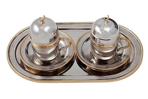 TURKISH COPPER COFFEE SET FOR TWO, GOLD PLATED