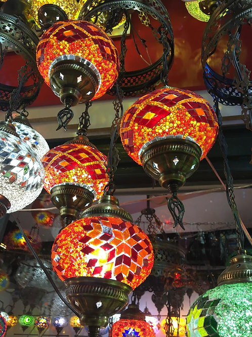 TURKISH MOSAIC CHANDELIER, 4 LAMPS, LARGE GLOBES NO 3
