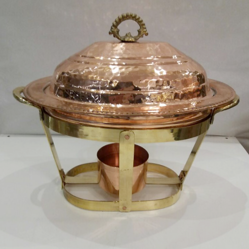 TURKISH COPPER RICE SERVING PAN WITH COPPER WARMER