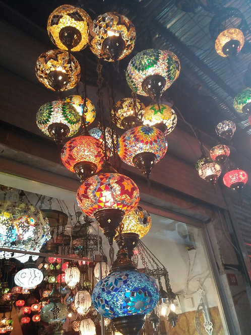 "MIX COLORS 11 LAMPS MOSAIC CHANDELIER, NO 2 (GLOBE SIZE: 12 cm / 4.7"")"