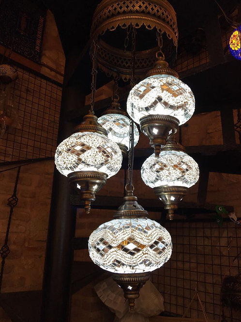 TURKISH MOSAIC CHANDELIER, 5 LAMPS, WHITE, NO 2