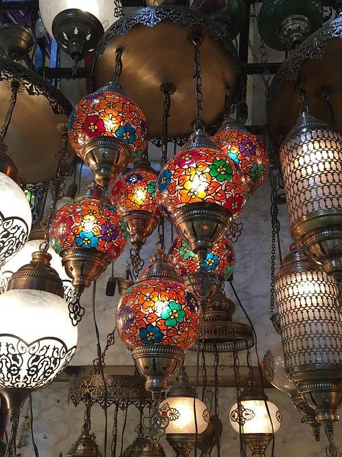 UNIQUE FLORAL CHANDELIER, 7 LAMPS, MULTI-COLOR