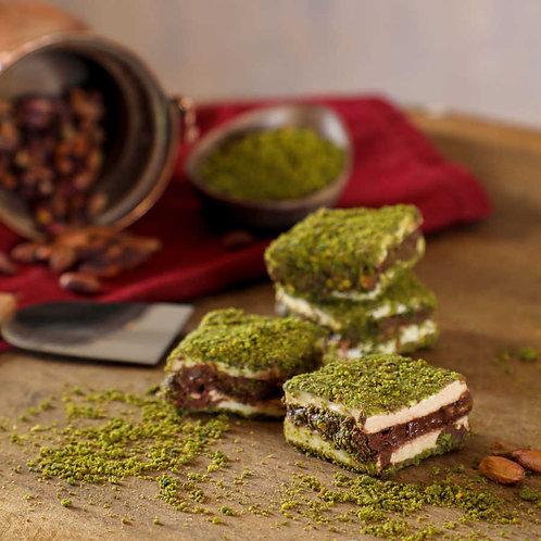 PISTACHIO COATED FLAT BOHCA TURKISH DELIGHT WITH CHOCOLATE, 500 gr (17.6 oz)