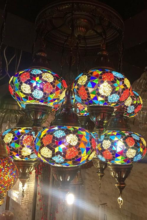 UNIQUE MOSAIC CHANDELIER, 9 LAMPS, LARGE GLOBES, NO 3