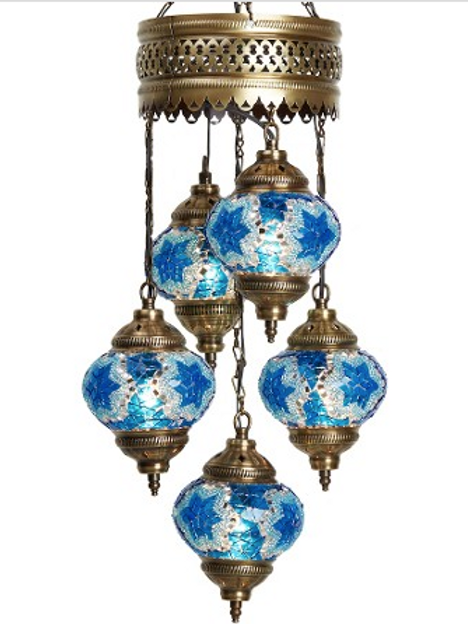 TURKISH MOSAIC CHANDELIER, 5 LAMPS, BLUE, NO 2