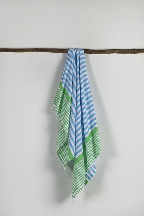 TURKISH PESHTEMAL, STRIPE WHITE, GREEN, BLUE