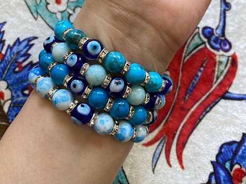 EVIL EYE BRACELET SET OF FOUR, BLUE