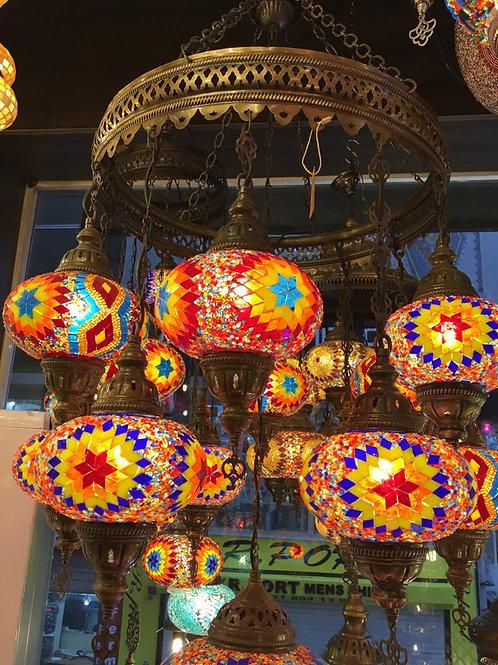 TURKISH MOSAIC CHANDELIER, 13 LAMPS