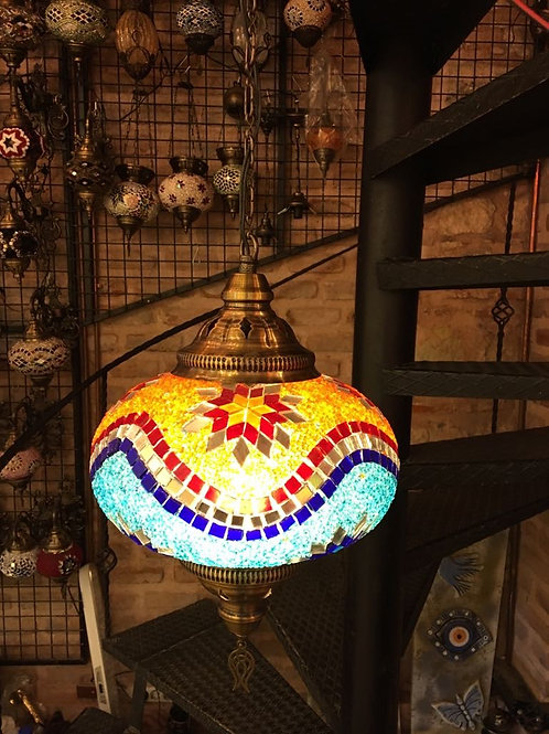 EXTRA LARGE UNIQUE TURKISH MOSAIC CHANDELIER, MULTI-COLOR 002