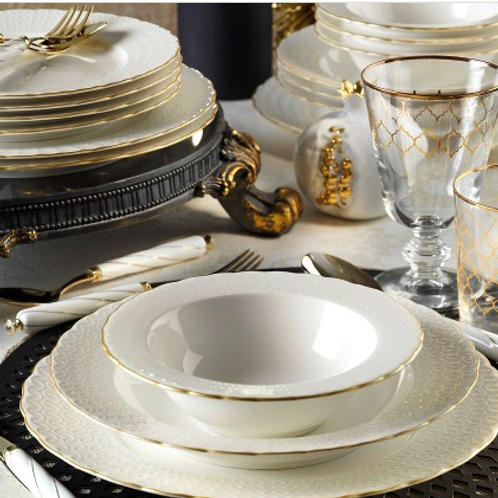 24 PIECES EXCLUSIVE TURKISH DINNERWARE, WHITE AND GOLD