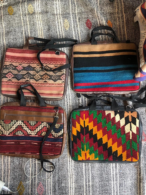 ASSORTED HANDMADE KILIM LAPTOP BAGS, 3 PIECES, LEATHER