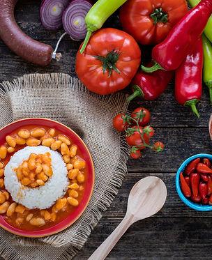 Turkish food Kuru fasulye pilav (navy be