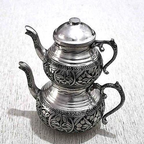 HAND-HAMMERED TURKISH TEA POT, SILVER COLOR
