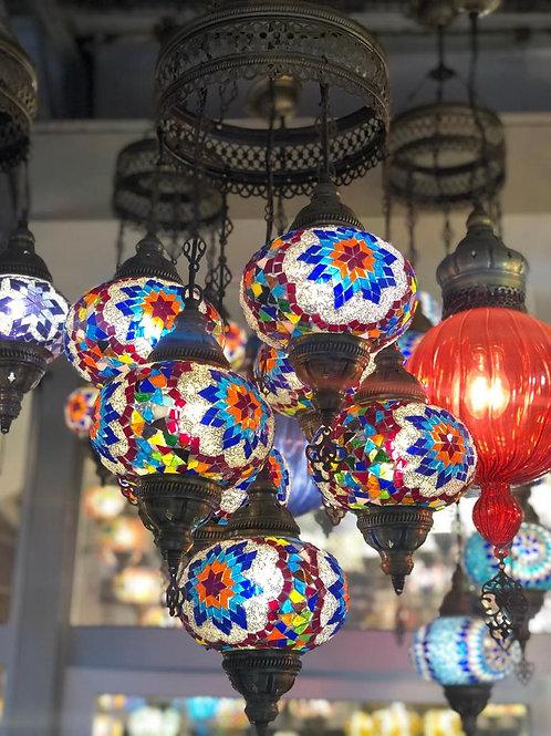 TURKISH MOSAIC CHANDELIER, 7 LAMPS, MULTI