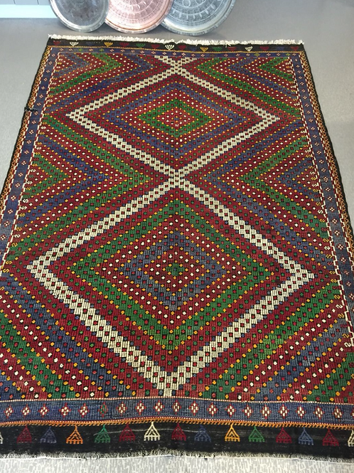 "LARGE TURKISH KILIM RUG, 320 x 216 cm ( 125 "" x 85 "" )"
