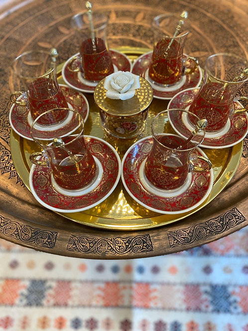 LUXURIOUS TURKISH TEA SET FOR SIX, 004