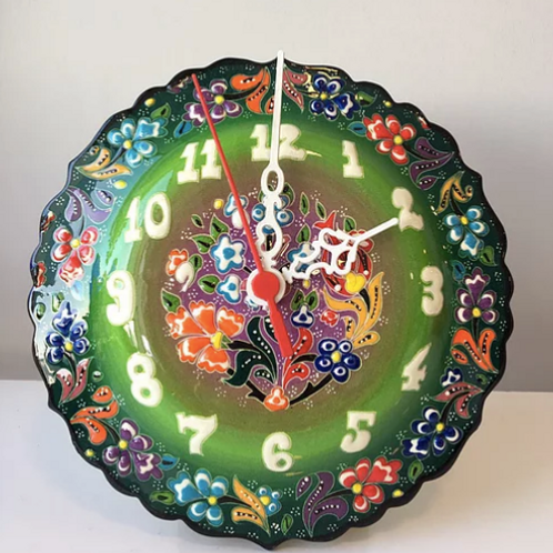 "TURKISH CERAMIC WALL CLOCK, 18 CM (7.08"")"