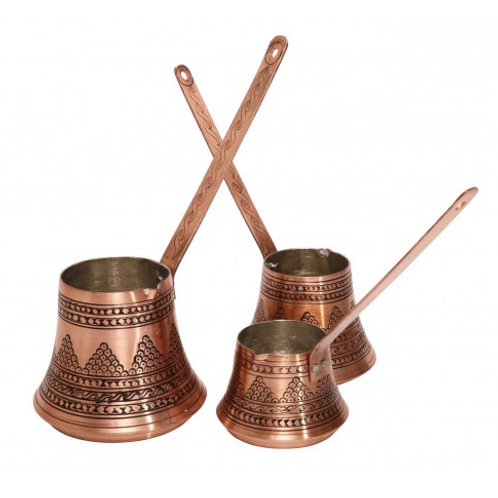3X SPECIAL HEAVY COPPER TURKISH COFFEE POT SET OF THREE, WOODEN HANDLES
