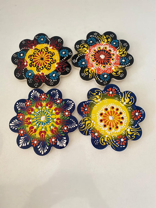 "4x SMALL TURKISH CERAMIC COASTER SET, 12 cm (4.7"")"