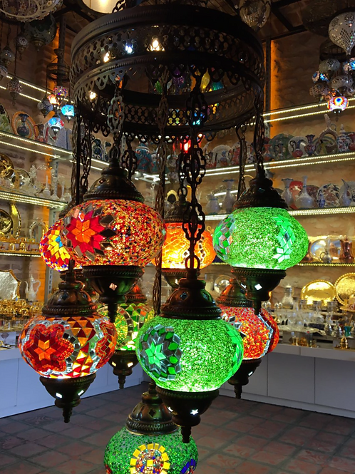 TURKISH MOSAIC CHANDELIER, 9 LAMPS, NO 2