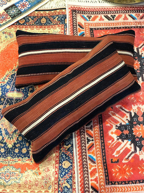 "TURKISH KILIM PILLOW SET OF TWO, 23"" x 11"" (60x30 cm), STRIPE"
