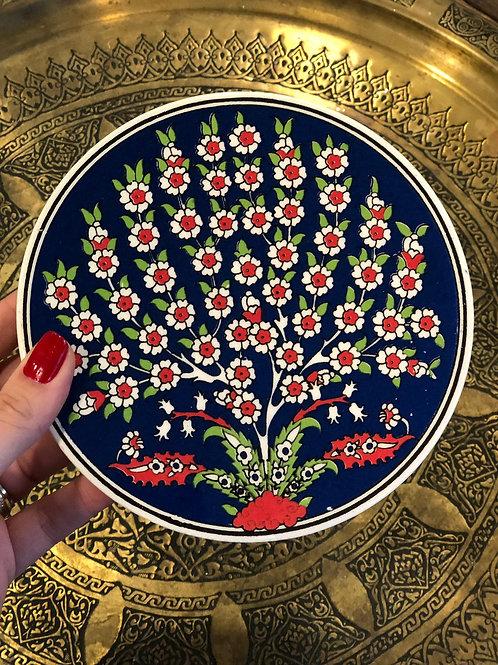 "LARGE TURKISH CERAMIC COASTER, 20 cm (7.8""), TREE OF LIFE"