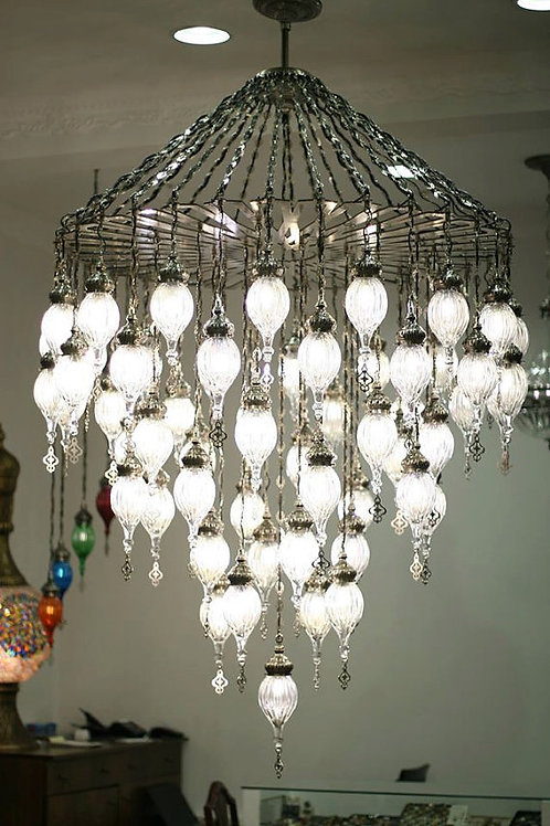 50 LAMPS LARGE BLOWN GLASS OTTOMAN CHANDELIER