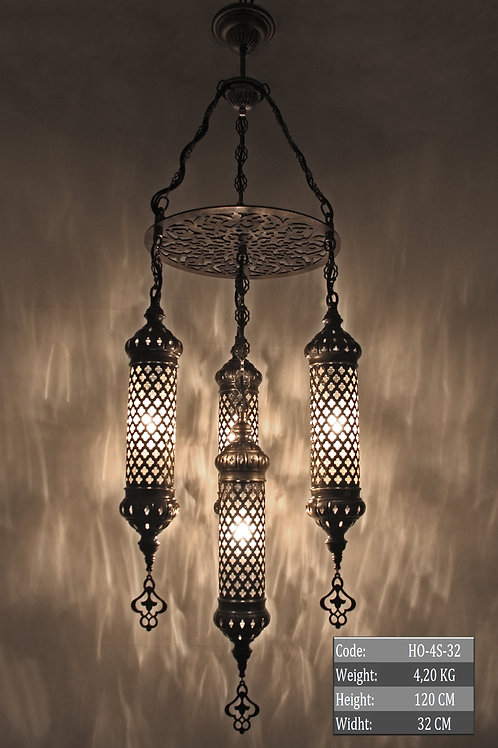HANDMADE OTTOMAN CHANDELIER, MULTI-COLOR, 4 LAMPS