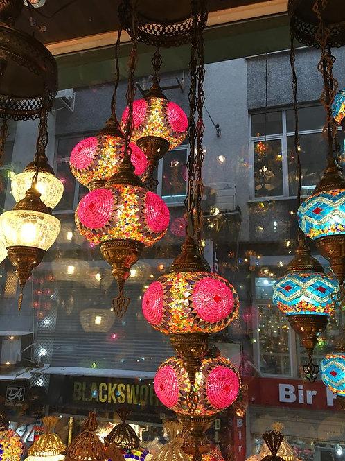 TURKISH MOSAIC CHANDELIER, 5 LAMPS, BLUE, NO3