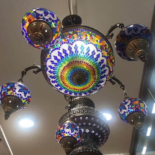 LARGE MOSAIC CHANDELIER, 6 GLOBES