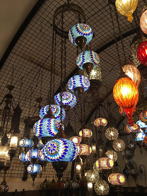 BLUE MOSAIC SPIRAL CHANDELIER, 7 LAMPS, NO3