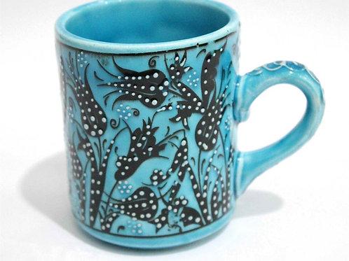 HANDMADE TURKISH CERAMIC COFFEE CUP, BLUE