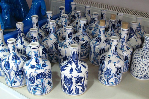 20 cm BLUE AND WHITE TURKISH CERAMIC OLIVE OIL BOTTLE, 5 BOTTLES
