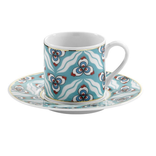 6x PORCELAIN TURKISH COFFEE SET FOR SIX, KP-002