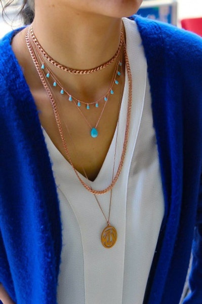 TURQUOISE DROP NECKLACE, SILVER