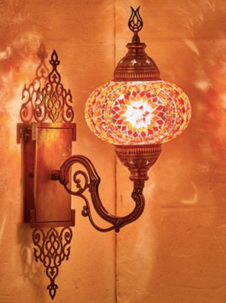 MOSAIC WALL LAMP WITH ORIENTAL MOUNT PIECE , 003