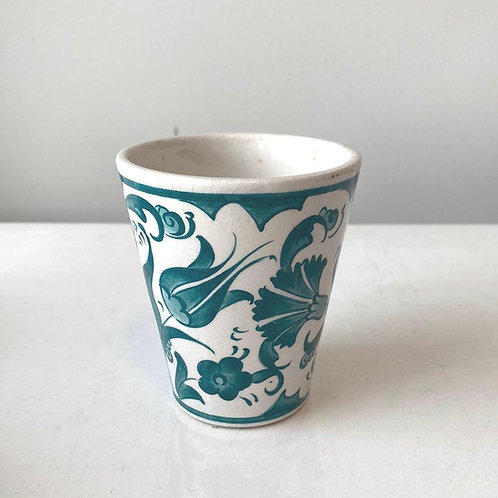 HANDMADE TURKISH CERAMIC COFFEE CUP, GREEN AND WHITE