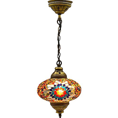 """MIXED COLOR and DESIGN SINGLE MOSAIC CHANDELIER, NO.3 (GLOBE SIZE:14 cm / 5.5"""")"""