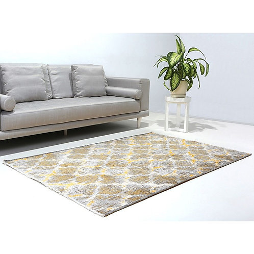 BROWN AND YELLOW IKAT INSPIRED TURKISH REVERSIBLE CARPET, WASHABLE